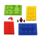Joyoldelf Silicone Candy Building Brick Mini Figures Ice Tray Small Medium Cupcake Cake Toppers – Set of 4