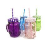 Mason Jam Jars Drinking Jar with Handle and Straw 500ml – Multi Colour