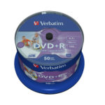 Verbatim 43512 4.7GB 16x DVD+R Wide Inkjet Printable 50 Pack Spindle No ID Brand