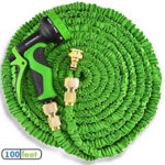 100ft Triple Layer, Non Kink Expanding Garden Hose Pipe Complete With Metal Hose Hanger