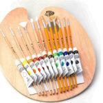 Paint Palette Brushes & Acrylic Paint Set, 12 Long Handle Paint Brushes Non Toxic