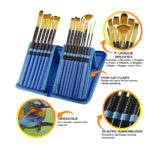 Myartscape Paint Brushes – 15 Pieces Art Brush Set for Watercolor, Acrylic, Oil & Face Painting (Cool Blue)