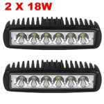 2 X 18W LED Flood Work Light Working Lamp Car Boat SUV Truck Driving Rectangle ATV 12V 24V