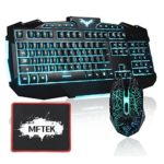 Gaming Keyboard & Mouse Set, MFTEK USB Wired LED 3 Colours (Red, Blue, Purple) Backlit