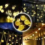 30 LED Outdoor Solar Lights Garden String Fairy White Crystal Ball Globe
