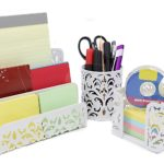 EasyPAG Carved Hollow Flower Pattern 3 in 1 Desk Organiser Executive Office Set