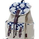Douguyan Women's Vintage School Canvas Backpack Casual Fashion Schoolbags Travel Rucksack White