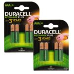 Duracell Rechargeable Accu HR03 750 mAh AAA Batteries – 4 Pack