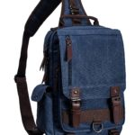 Leaper Canvas Message Sling Bag Outdoor Cross Body Bag for Mens (Dark Blue)