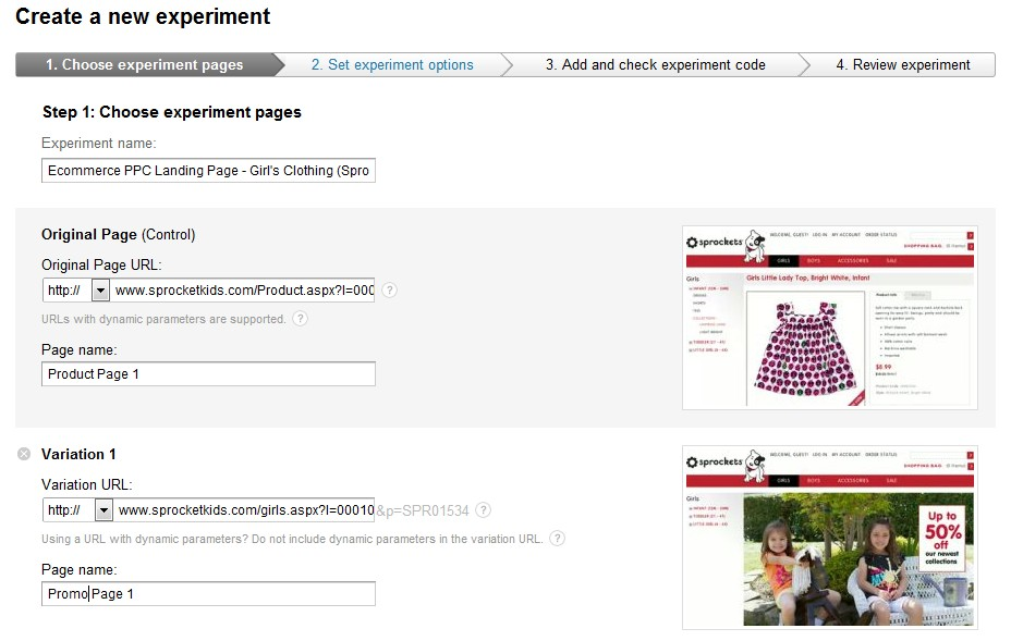 Ecommerce Optimization via Content Experiements