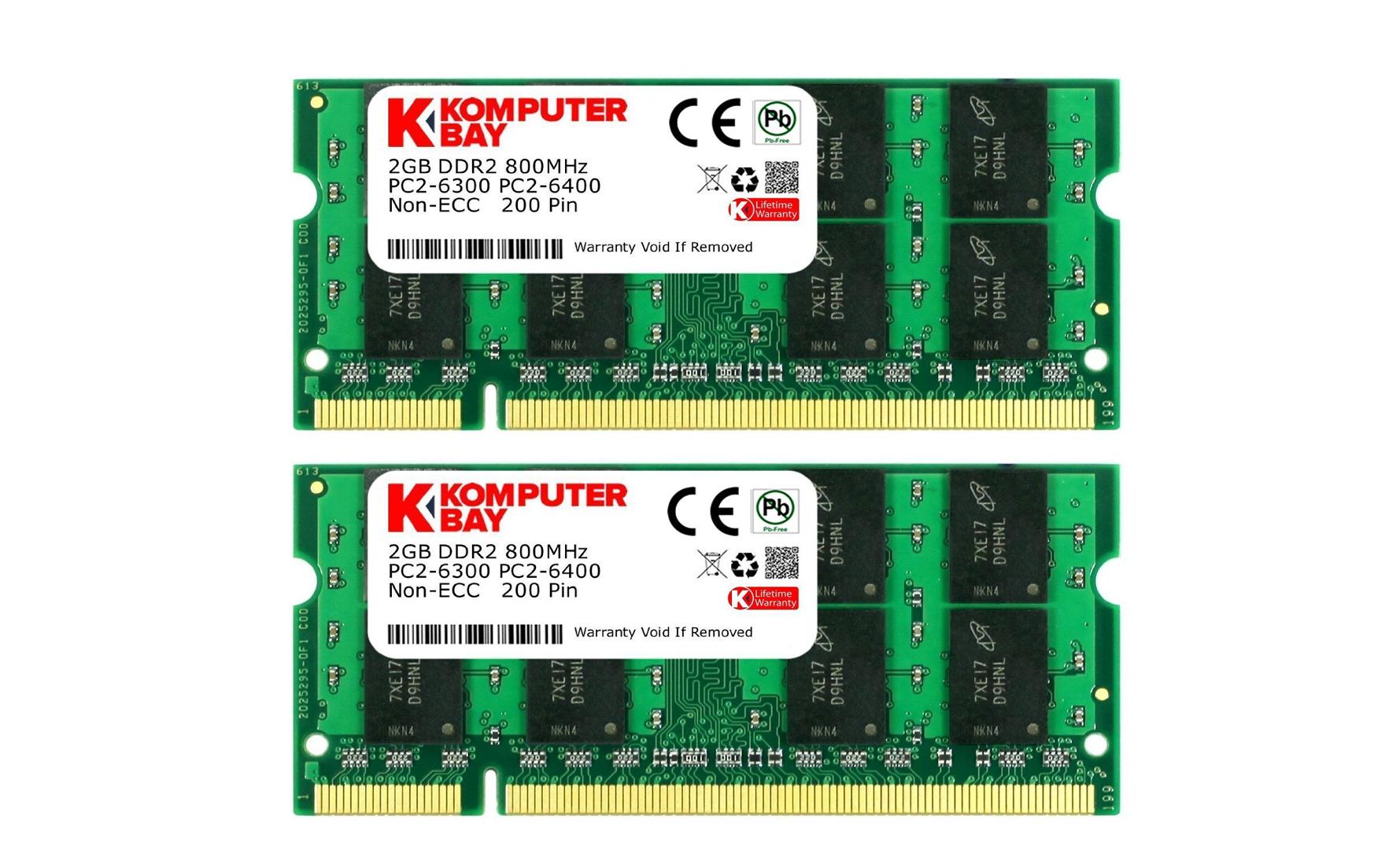 Komputerbay 4gb 2x 2gb Ddr2 800mhz Pc2 6300 6400 800 200 Sodimm 6400s Pin Laptop Memory Ecommerce Juice