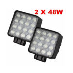 48W Led Work Lights Offroads Lights Lamp Truck Boat 12v 24v 4wd Square Spotlight Floodlight (2 PCS)