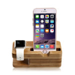 Apple Watch Stand, Iselector Bamboo Charging Stand Charger Dock Station Cradle Holder for Apple Watch and iPhone 6 / 5