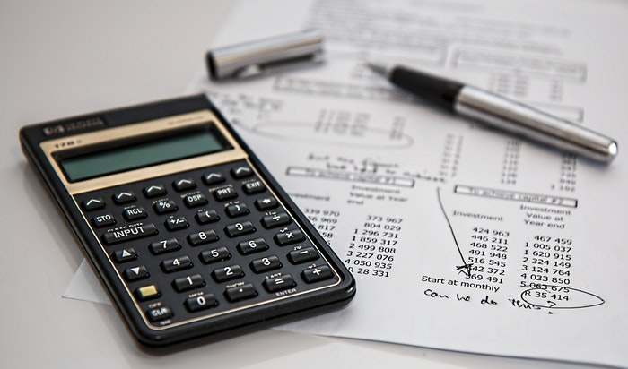 calculator and financial reports
